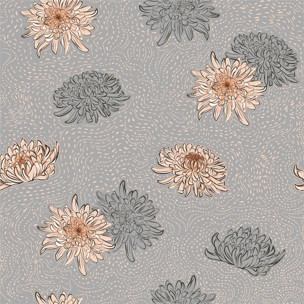 Big pink blooming flower pattern chrysanthemum flowers and line flowers with brush polka dots line Premium Vector