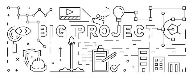 The big project line art design Premium Vector