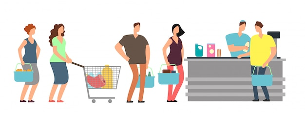Big queue shopping people at cash desk with cashier in supermarket cartoon vector illustration Premium Vector