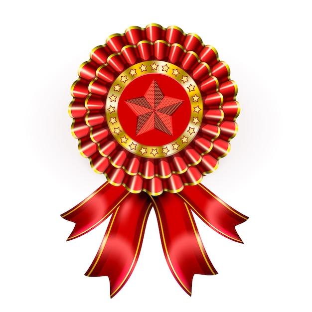 Большой красный ярлык награды со звездой и лентами Бесплатные векторы