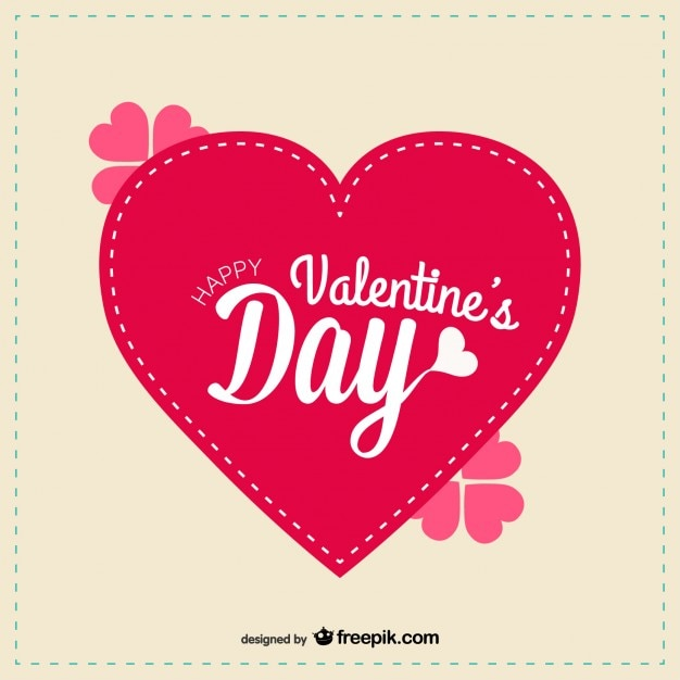 Big red heart in valentine's day card Free Vector