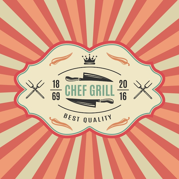 Big retro bbq label with chief grill best quality Free Vector
