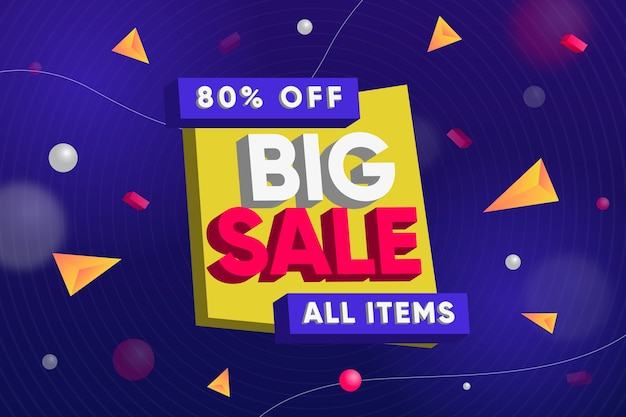 Big sale on all items 3d background Free Vector