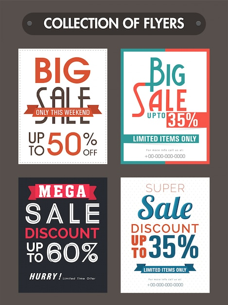 Big Sale and Discounts templates banners or flyers collection – Discount Flyer Template