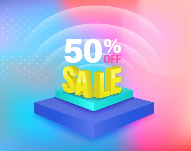 The big sale banner on abstract mesh background Premium Vector