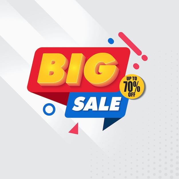 Big sale banner design template with grey background Premium Vector