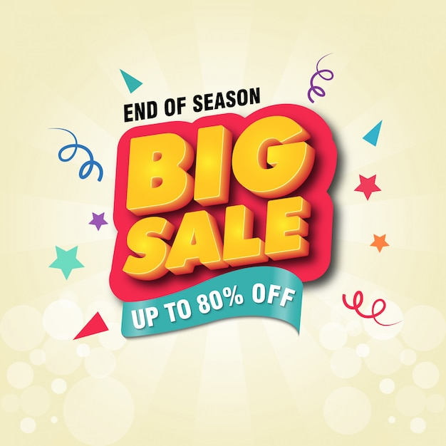 Big sale banner design template Premium Vector