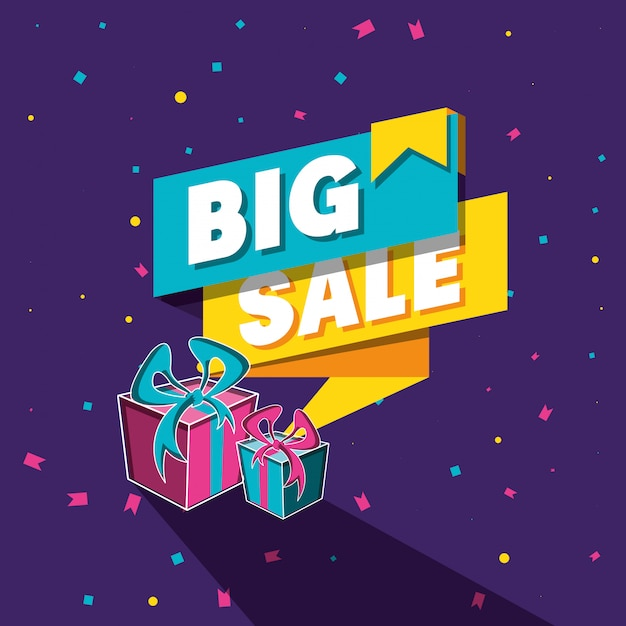 Big sale banner with gifts Premium Vector