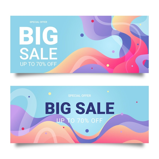 Дизайн баннеров для больших продаж Бесплатные векторы