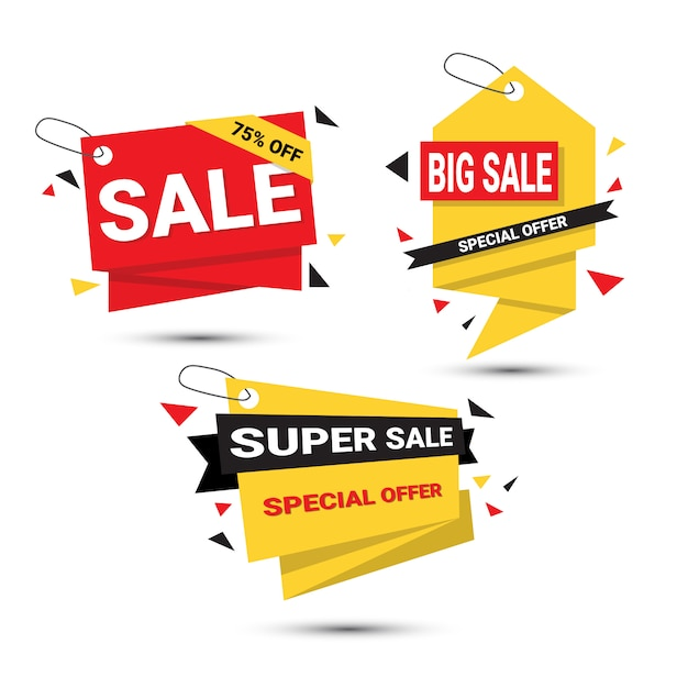 Big sale banners set special offer template tags collection isolated Premium Vector