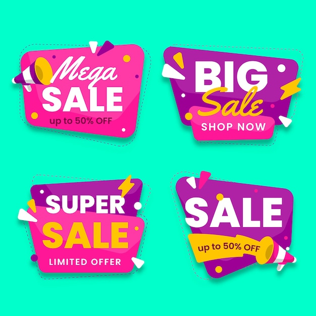 Big sale chat bubbles design with flashes banner collection Free Vector