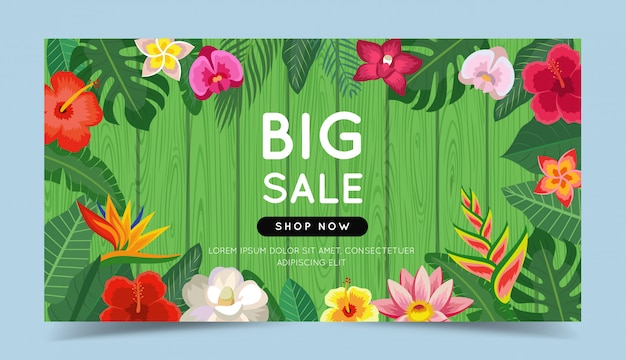 Big sale colorful banner with tropical flowers and leaves and wooden background. Premium Vector
