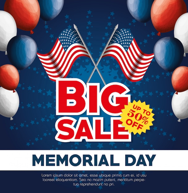 Big sale commercial label for memorial day Premium Vector