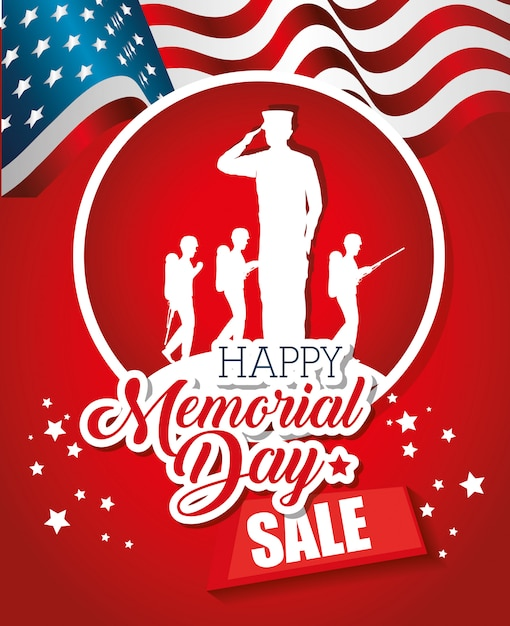 Big sale commercial label for memorial day Premium Vector