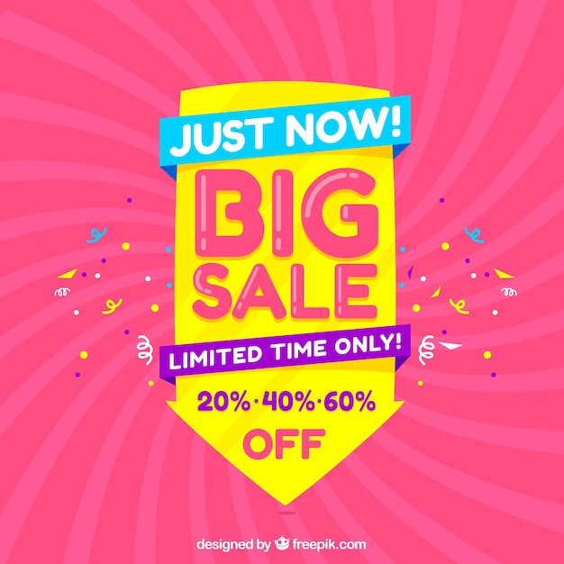 Big sale composition with confetti Free Vector
