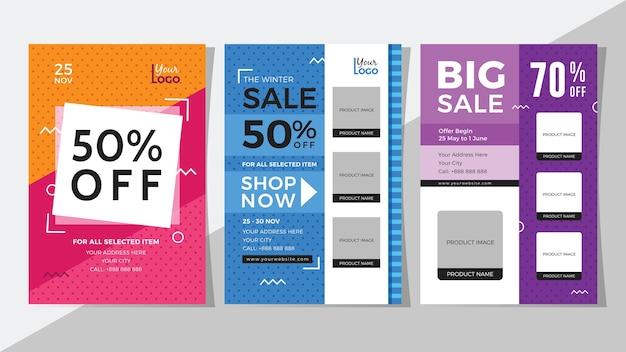 Big sale and discount flyer set Premium Vector