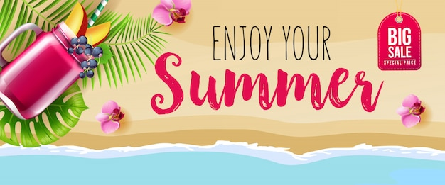Big sale enjoy your summer banner with pink flowers, mug of berry smoothie Free Vector