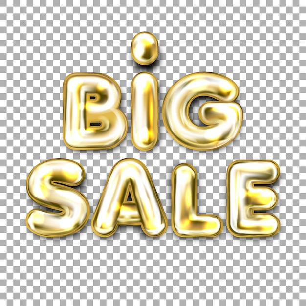 Big sale golden foil balloon lettering Premium Vector