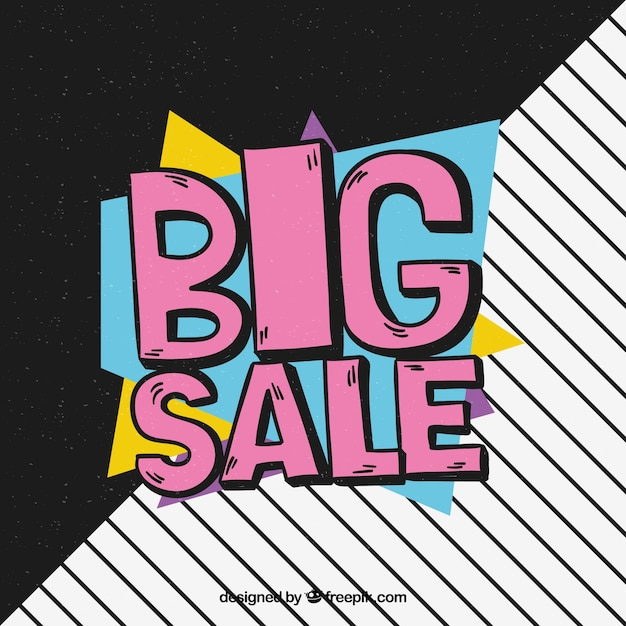 Big sale hand drawn with memphis style Free Vector