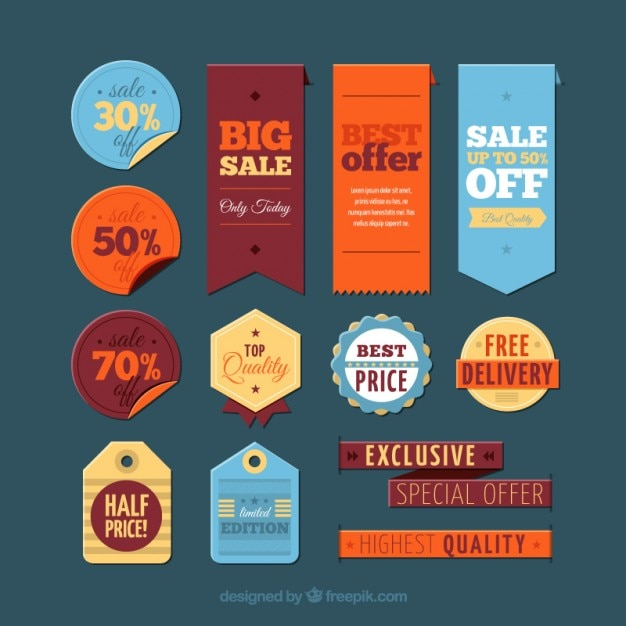 Big sale labels Free Vector