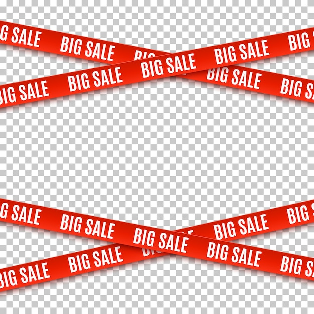 Big sale red banners. set of warning tapes, ribbons on transparent background. template for brochure, poster or flyer Premium Vector
