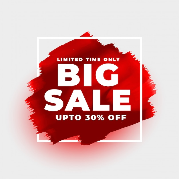 Big sale red watercolor style background template Free Vector