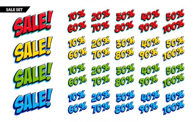 Большой набор для продажи четыре цвета продажа надпись и 10, 20, 30, 40, 50, 60, 70, 80, 90,100 процентов знаков Premium векторы