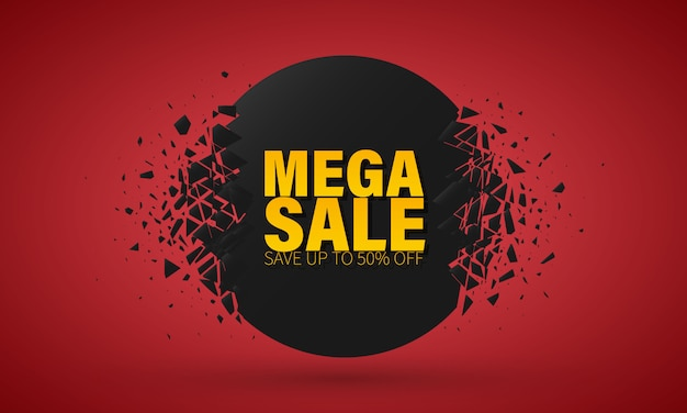 Big sale special offer. banner with explosion effect. Premium Vector