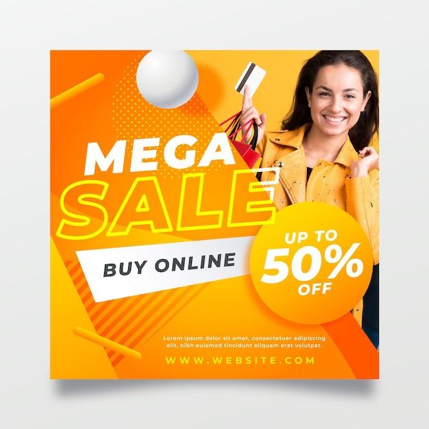 Modello di volantino quadrato grande vendita Vettore gratuito