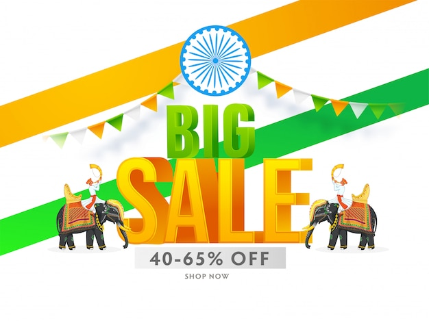 Big sale text  ashoka wheel and tutari player men riding at elephants for indian national festival. Premium Vector