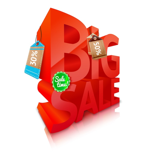 Big sale text emblem Free Vector