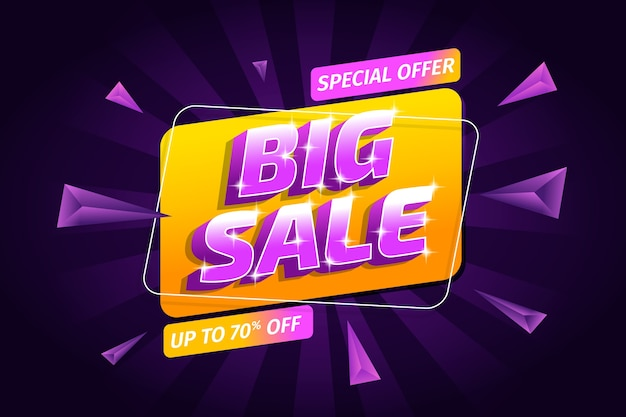 Big sale and triangles background Free Vector