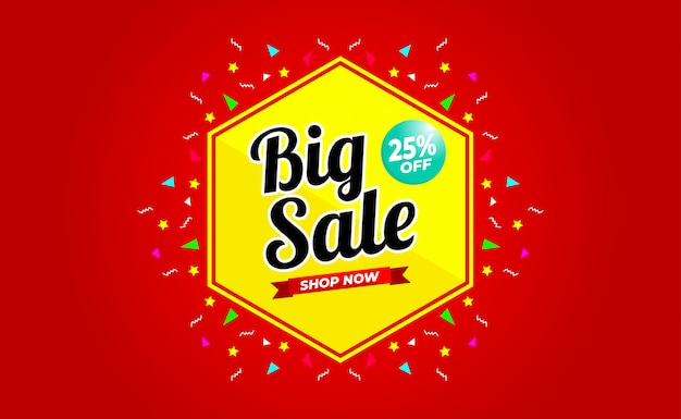 Большая распродажа до 25% скидка на баннер. для рекламных акций, баннеров, скидок. Premium векторы