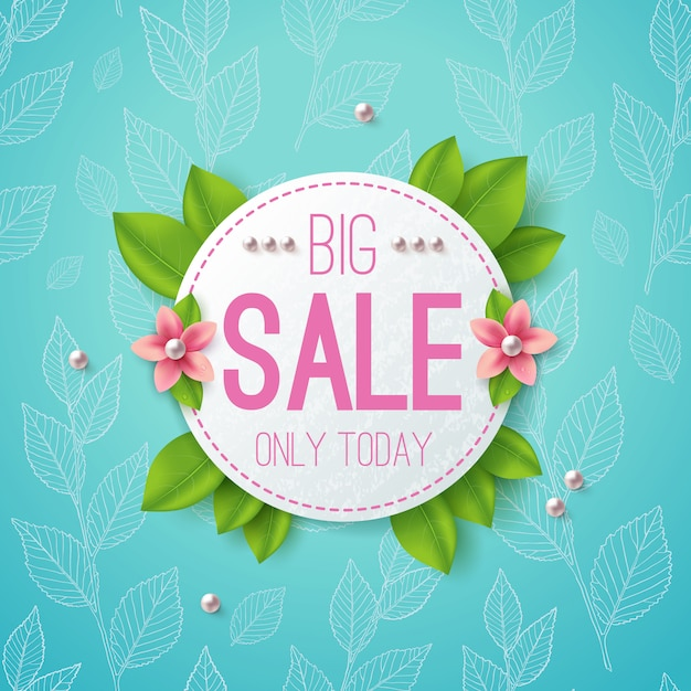 Big sale vector illustration banner. circle label with leaves, flowers and pearls. Premium Vector
