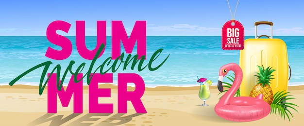 Big sale, welcome summer banner. cold drink, pineapple, toy flamingo, yellow travel case Free Vector