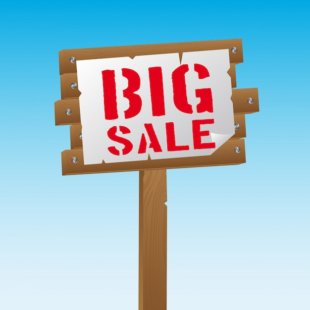 Big sale over wooden sign over sky Premium Vector