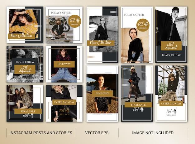 Big sales and black friday instagram banner set Premium Vector