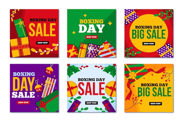 Big sales for boxing christmas day on social media Free Vector