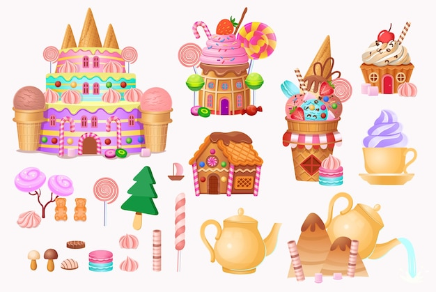 Big set. andy city with cake castle, houses cakes, ice creams, sweets, lollipops and cookies. Premium Vector