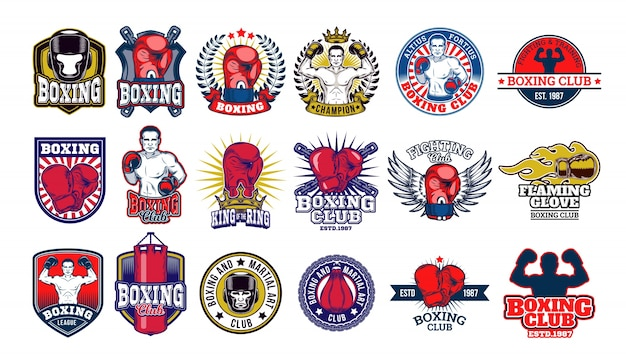Big set boxing badges, stickers isolated on white. Free Vector