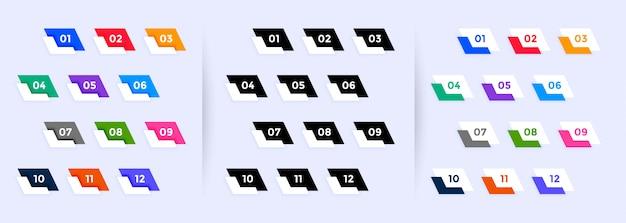 Grande set di punti elenco da uno a dodici Vettore gratuito