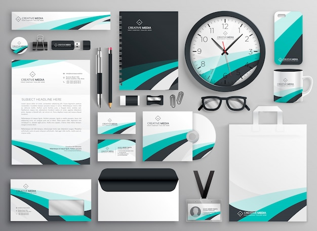 Big set of business stationery items Free Vector