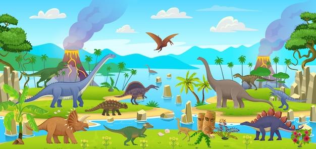 Big set of cartoon dinosaurs. pterodactylus, ankylosaurus, stegosaurus, pachycephalosaurus, spinosaurus, tyrannosaurus, tarbosaurus, triceratops, gallimimus, amphicoelias, diplodocus, plateosaurus Premium Vector