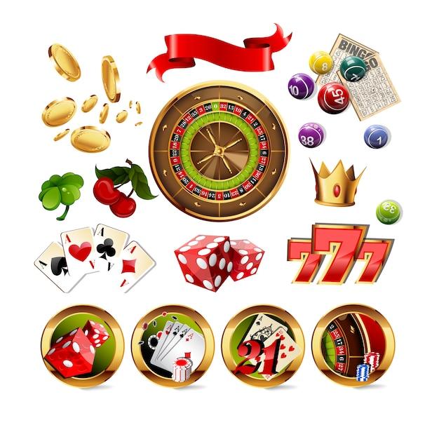 Big set of casino gambling elements Premium Vector