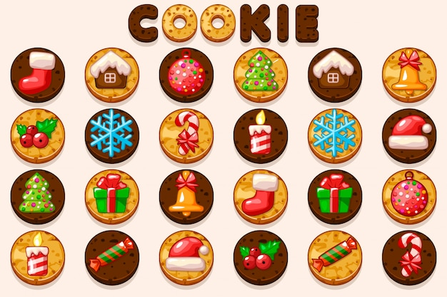 Большой набор рождественских и новогодних печений, значков символов праздника. Premium векторы