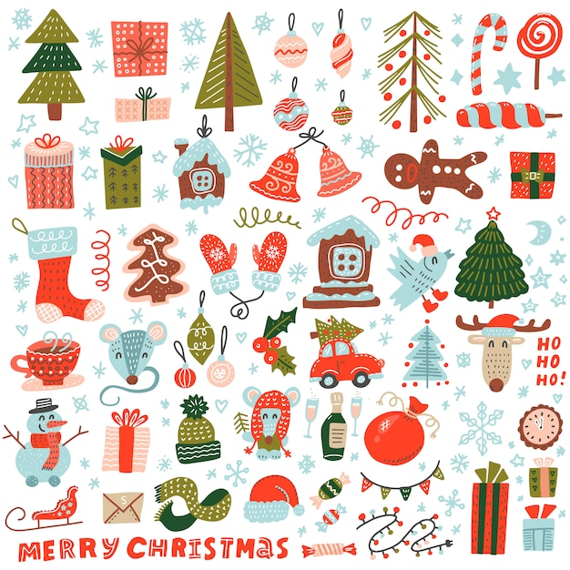 Big set of christmas element in doodle style Premium Vector