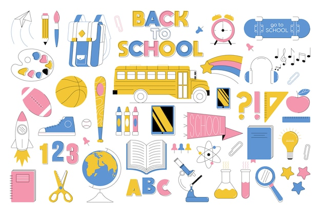 Big set collection of education elements