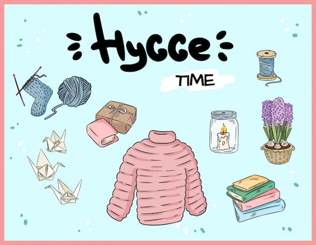 Big set of cute hygge sticker doodles. Premium Vector
