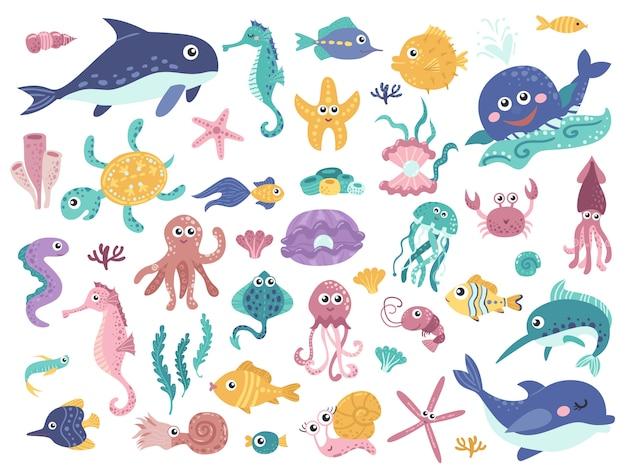 Big set of cute marine inhabitants. Premium Vector