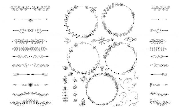 Big set of decorative hand drawn elements Premium Vector